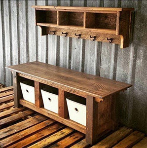 Rustic Farmhouse Three Cubby Bench & Shelf Cubby Set