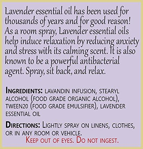 Positive Essence Lavender Linen & Room Spray - Natural Aromatic Mist Made with PURE LAVENDER ESSENTIAL OIL - Relax Your Body & Mind – Refreshing Non-Toxic Air Freshener Odor Eliminator