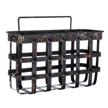 Antique Black Iron Band Wall Basket - King City Treasures