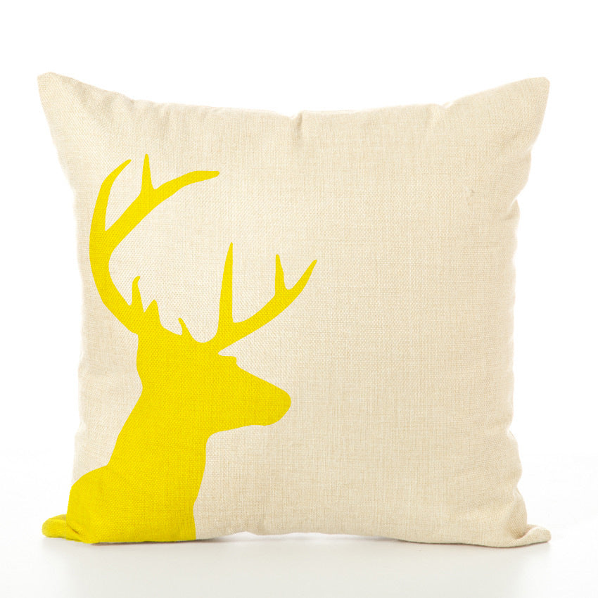 Deer Geometry Printed Decorative Throw Pillow
