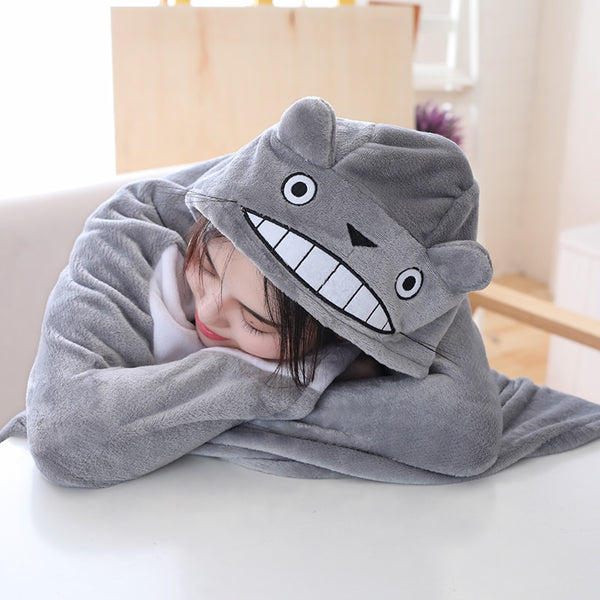 145*70cm plush toy stuffed totoro hung out blanket air conditioning blanket mantys cape coral double polar - King City Treasures