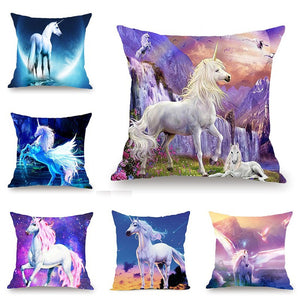 Beautiful Unicorn Purple Galaxy Pillow Case Covers  Colorful Horse Printing Cushion Cover for Sofa Car Chair Bedroom Home Decora - King City Treasures