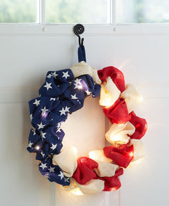 Lighted Patriotic Burlap Wreath