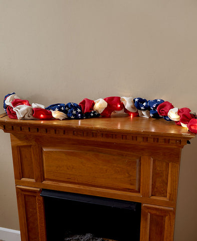 Lighted Patriotic Burlap Garland