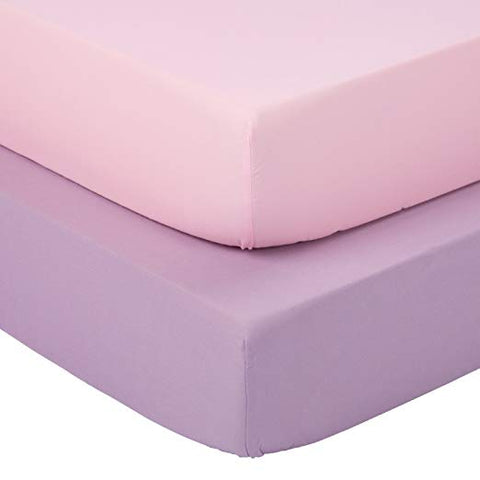 Silky Soft Microfiber Crib Sheets Set, Breathable Cozy Hypoallergenic, 28 x 52in Fit Standard Crib & Toddler Mattress, 2 Pack Lavender & Peachy Pink