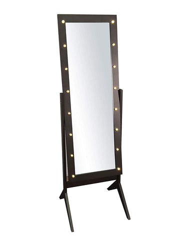 Espresso Brown Wooden Cheval Bedroom Floor Mirror Stand