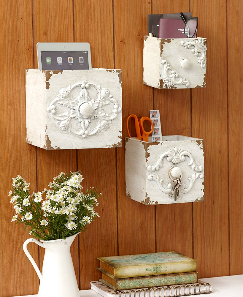 Sets of 3 Vintage-Inspired Wall Boxes