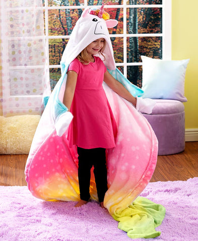 Unicorn Hooded Throw Blanket