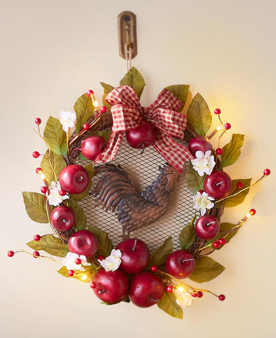 Lighted Country Apple and Rooster Wreath