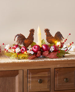 Lighted Country Apple and Rooster Centerpiece