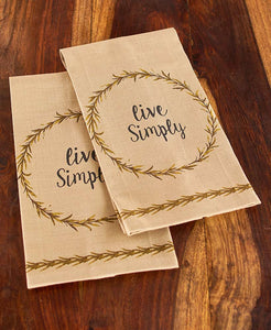 Rustic Burlap Live Simply 2-Pc. Kitchen Towel Set
