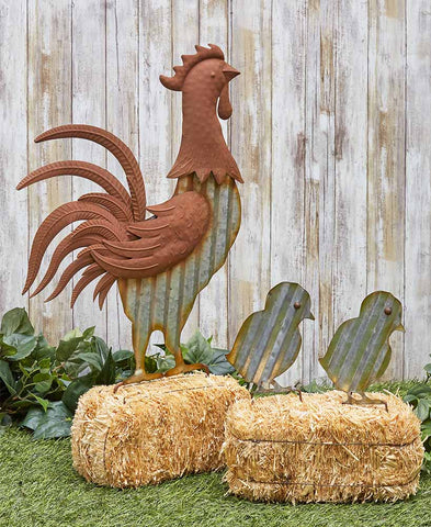 3 pc Rooster & Chicks Farmhouse Garden Decor