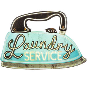Laundry Service Iron Metal Sign