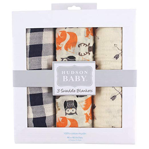 Hudson Baby Muslin 3 Piece Swaddle Blankets, Woodland Creatures
