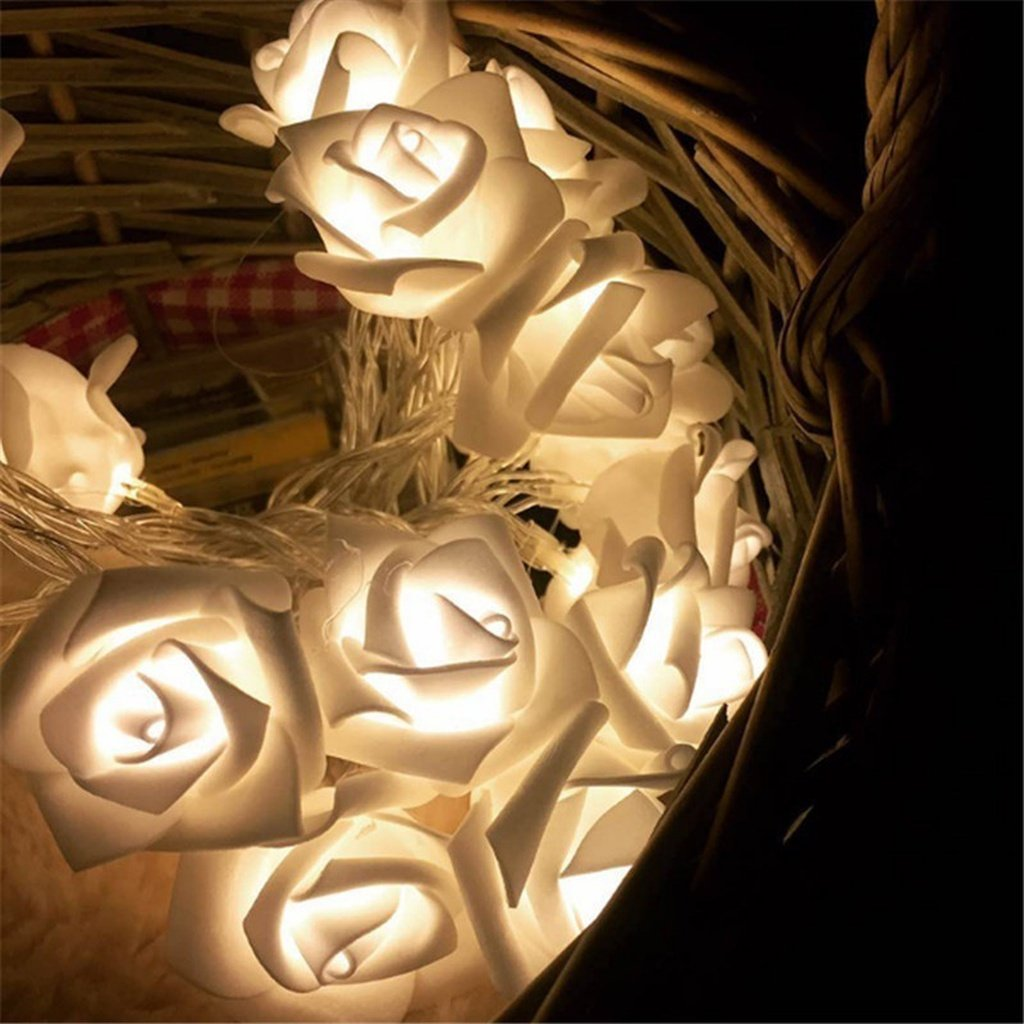 3.0M 10/20/40 Rose Christmas Decoration String Lights Simulation LED Light Post Lantern Lighting Fairy Lights Home Flower Party - King City Treasures