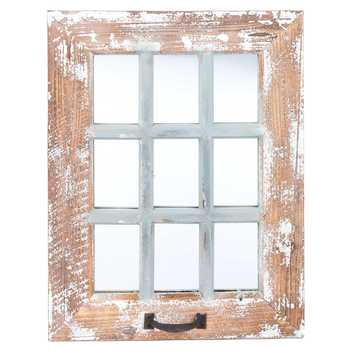 9-Pane Antique Wood Wall Mirror