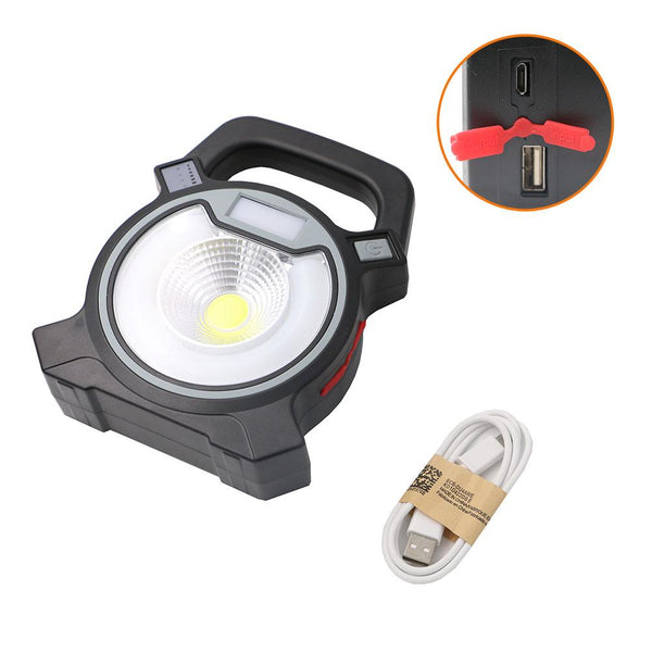 30W COB LED Portable Spotlight Searchlight USB Rechargeable Handheld Work By 18650 Portable Lantern - King City Treasures