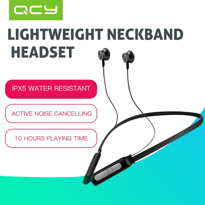 QCY BH1 Active Noise Cancelling Bluetooth Headphones Wireless Headset Stereo Neckband Sport Earbuds with Microphone
