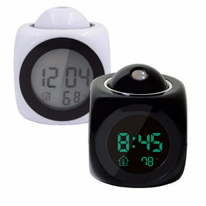 LCD Projection Digital Alarm Clock Talking Voice Prompt Thermometer Snooze