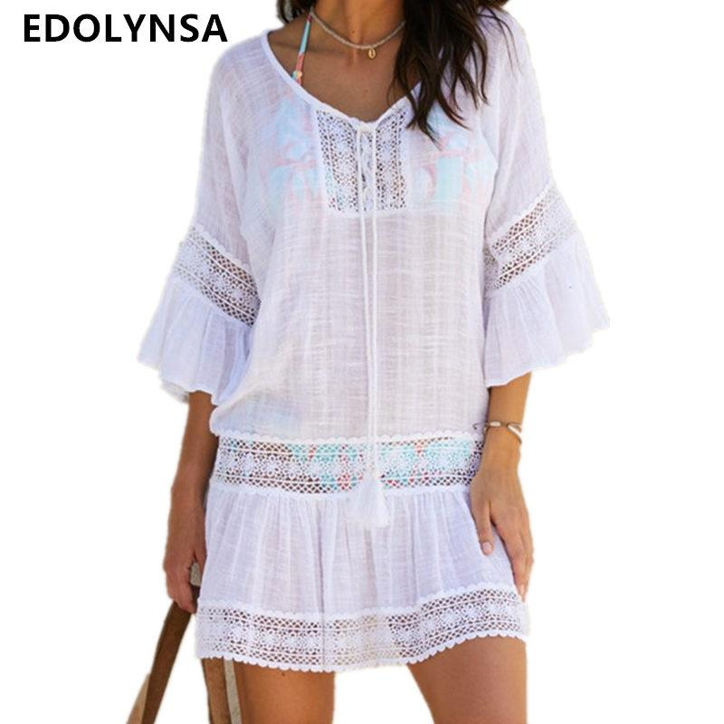 Bamboo Cotton Summer Pareo Beach Cover Up Sexy Swimwear Women Swimsuit Cover Up Kaftan Beach Dress Tunic White Beachwear Q382