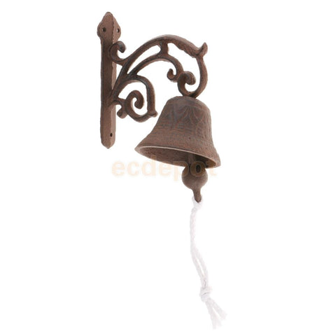 Cast Iron Dinner Bell Simple Wall Mount Metal Door Bell Home Garden Porch Patio Farm Yard Cabin Craft Decoration Retro - King City Treasures