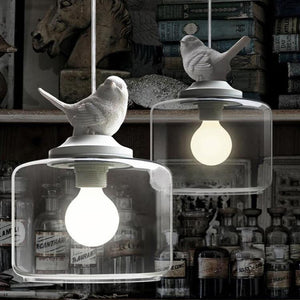 Child Real Cartoon Pendant Light Fashion Bedroom Bedside Lamp Brief Rustic Lighting Lamps With White Resin Bird - King City Treasures