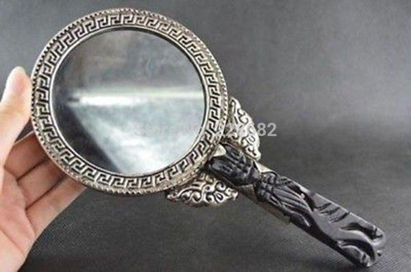 Chinese old handwork Tibet Silver Carving Dragon Phoenix Big Hand Mirror Best Gift For Woman Free Shipping - King City Treasures