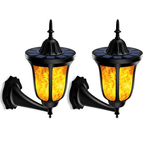 Solar Lamp 96 LEDs Waterproof IP65 Outdoor Flickering Flames Torch Wall Light Decor Warm White