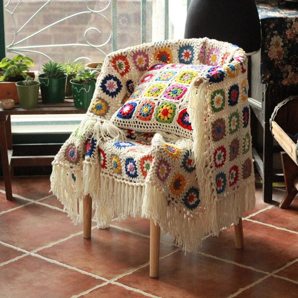 DIY Craft Fringe blanket Granny square Crochet sofa Throw floral blanket with tassels cushion felt pastoral style wedding gift - King City Treasures