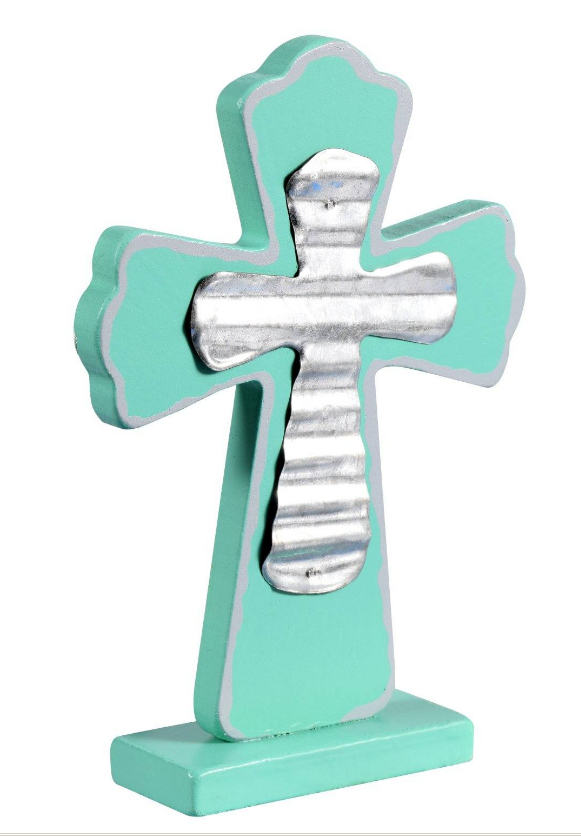Turquoise Decorative Wooden Cross