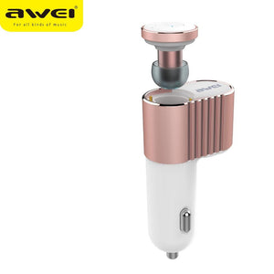 Awei A871BL Headset Super Mini Wireless Bluetooth Earbuds With Single USB Car Charger Adapter - King City Treasures