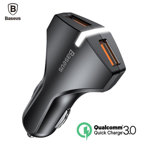 Baseus  Charge 3.0 Car Charger 5V3A Dual USB Port QC3.0 Quick Charger Mobile Phone Fast Charging Charger 2 USB Car-Charger - King City Treasures