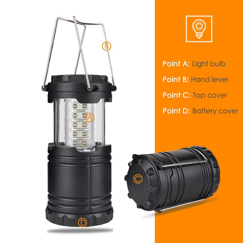 Collapsible 30 LED Camping Lamp Portable Lantern Water Resistant Outdoor  Linternas Lighting  Flashlight - King City Treasures
