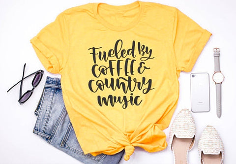 Fueled by coffee and country music Cotton T-Shirt High Quality Women Tee Style Clothing Aesthetic Trendy Tops Outfits S-3XL