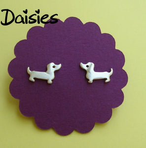 Daisies Fashion Dachshund Dog Earring Statement Jewelry Silver Gold Mini Dachshund Stud Earring Boucles d'oreilles