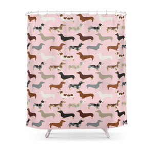 Dachshund Pet Portrait Hot Dog Breed Funny Small Puppy Gifts For Dachshund Shower Curtain Waterproof Bathroom Polyester Fabric