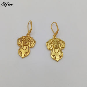 Elfin New Trendy Dachshund Earings Fashion Jewelry Gold Color Silver Color Dachshund Dog Earrings For Women