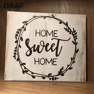 Home Sweet Home Rustic Wood Sign Creative Wood Plaques Square Shape Vintage Home Decorative Farmhouse Style Sign