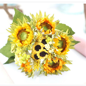 Keythemelife Artificial Flowers Sunflower Silk Flower Fall Vivid Fake Leaf Wedding Home Party Decoration C5
