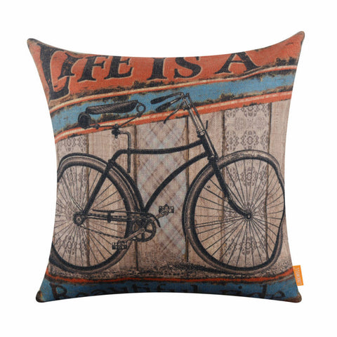 Vintage Life is a Beautiful Ride Bicycle Burlap Pillowcase