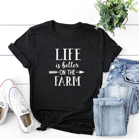 Life Is Better On The Farm Shirt fashion letter printed crewneck t shirts tumblr women clothing unisex aesthetic tees