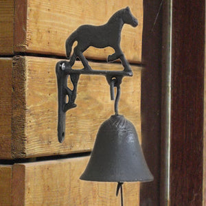 Retro Iron Horse Decorative Cast Metal Handmade Bell Phone Countryside Garden Door Farm Creative Brown Home Crafts Free Shipping