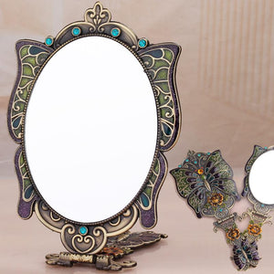 Russian makeup mirror Desktop Princess portable handle folding mirror Hand-held vintage butterfly imitation bronze mirror