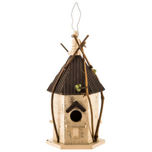 White Birdhouse with Twigs