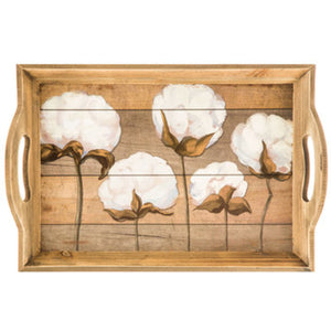 Cotton Wood Tray With Handles