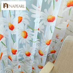 Window screening balcony finished product burnout flower tulle curtain for living room sunflower kitchen curtains