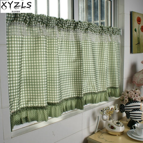 XYZLS Green Plaid Blinds Kitchen Curtains Cafe Curtain Door Curtains Half Short Panel Drapes Valance Home Decor