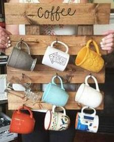 Rustic Wood Coffee Mug Holder