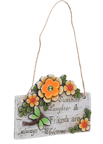 Flowers and Dragonfly Inspirational Hanging Plaque