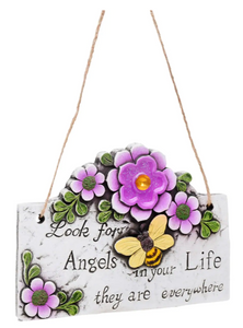 Flowers and Bumblebee Bee Inspirational Hanging Plaque